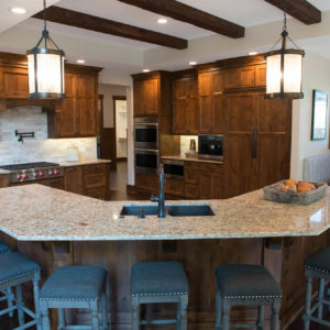 lodge style kitchen stained alderweb