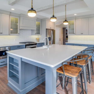modern kitchen with blue lower cabinetsweb 1