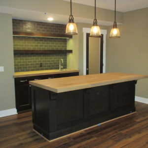 stained wet bar with open shelvesweb