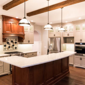 traditional kitchen stained hood and islandweb