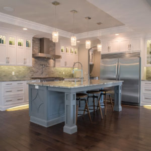 transitional kitchen frameless island detail and postsweb
