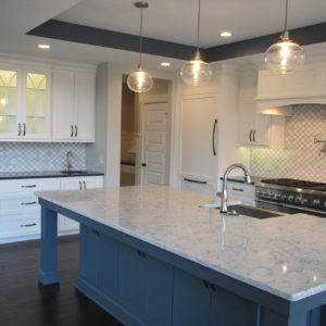 transitional kitchen with blue painted island prep sinkweb