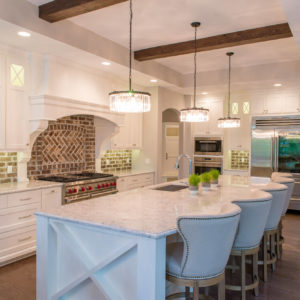 transitional kitchen with brick backsplash island detailweb