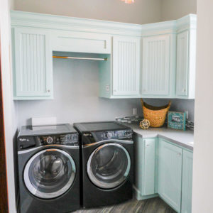 transitional laundry mint painted cabinets bead doorweb