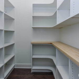 white melamine pantry with laminate counterweb