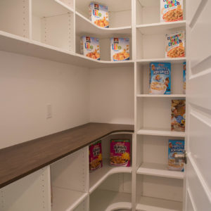 white melamine pantry with woodgrain melamine counterweb