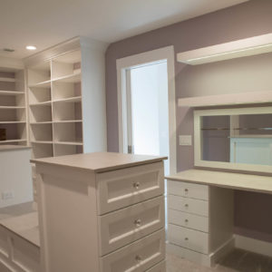 white melamine with vanity and open shelvesweb