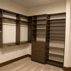 woodgrain melamine with slab drawers and flat shoe shelvesweb